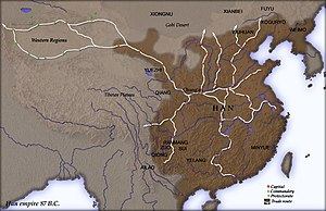 Protectorate of the Western Regions - The Han Dynasty Chinese empire c. 87 BCE, showing the Western Regions, upper left, the capital Chang'an (upper right) and the location of all commanderies.