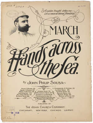 "Hands Across the Sea (march) - ""Hands Across the Sea"" sheet music cover"