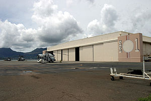Marine Corps Air Station Kaneohe Bay - During the Attack on Pearl Harbor, portions of Hangar 1 were destroyed. In 1987, the hangar and five sea plane ramps were designated a National Historic Landmark.