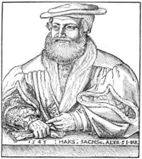 Hans Sachs, wood engraving by Michael Ostendorfer. (Source: Wikimedia)