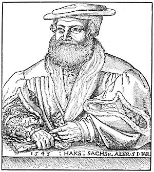 Hans Sachs - Hans Sachs, wood engraving by Michael Ostendorfer.