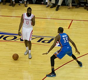 James Harden - Harden (left) and Kevin Durant during the 2013 NBA playoffs.