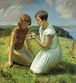 Harold Harvey Two young girls with a butterfly 1929.jpg