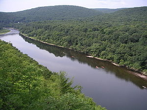 The Delaware River with canoeists