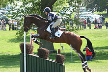 A brown horse with a rider jumping over a wide, sloped gray-colored obstacle with spectators, green grass and trees in the background