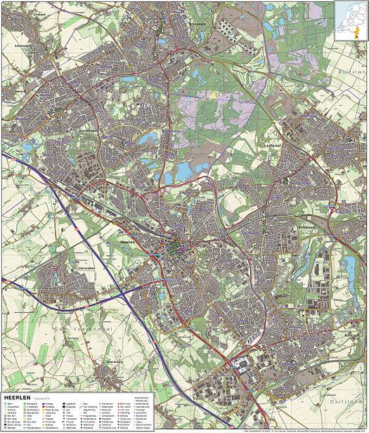 Topografisch kaartbeeld van Heerlen en omgeving, 2011–2012. Klik op ...
