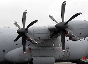 Propeller (aeronautics) - The feathered propellers of an RAF Hercules C.4