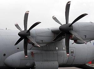 Propeller (aeronautics) - The feathered propellers of an RAF Hercules C.4