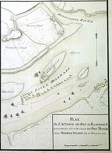Old map of Delaware River near Philadelphia