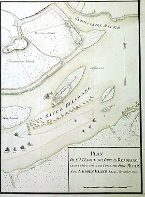 Battle of Red Bank - Hessian map showing campaign against Fort Mifflin and Fort Mercer (Redbank) in 1777.