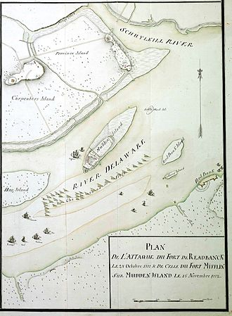 Cheval de frise -  Hessian map showing the placement of chevaux de frise in the Delaware River in 1777.