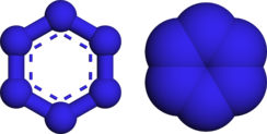 Ball and stick, and spacefill models of hexazine
