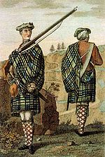 Highland soldier in 1744, an early picture of a Government Tartan great kilt, with the plaid being used to protect the musket lock from rain and wind.