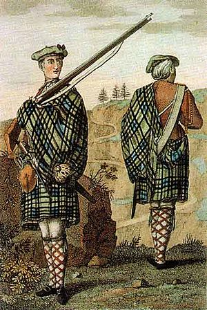 History of the kilt - Highland soldier in 1744, an early picture of a Government Tartan great kilt, with the plaid being used to protect the musket lock from rain and wind.