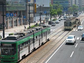 Fukuro-machi Station tram station in Hiroshima, Hiroshima prefecture, Japan
