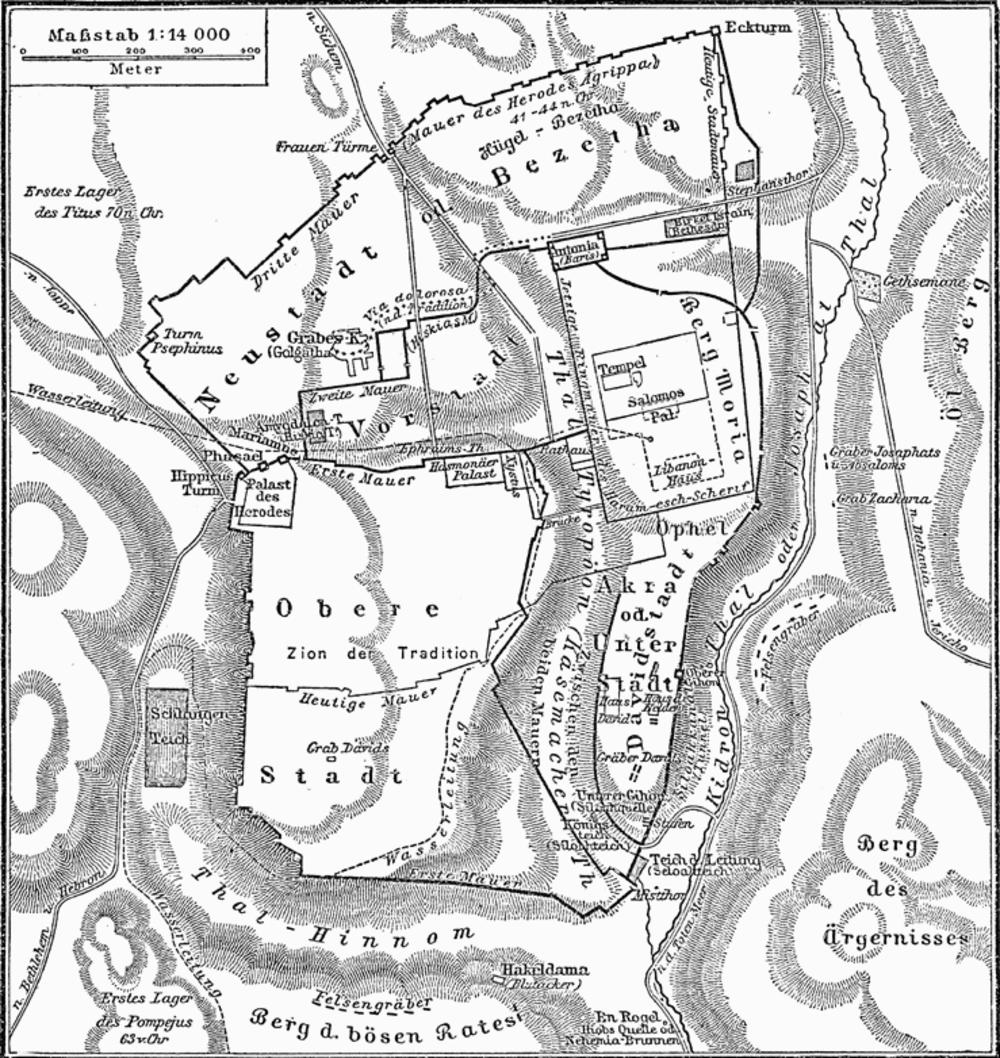 Historische Karte von Jerusalem MK1888