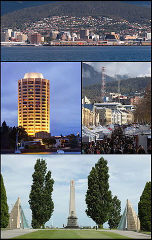 Left to right from top: Hobart CBD; Wrest Point Hotel Casino; Salamanca Market; Hobart Cenotaph