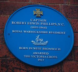 Photo of Captain Robert Edwin Phillips VC blue plaque