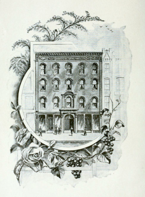 Worcester County Horticultural Society - An illustration of the first Horticultural Hall on Front St., 1892.