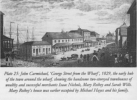 Nichols' house along George Street, 1829 Houses of Isaac Nichols, Mary Reibey and Sarah Wills, Sydney 1829.jpg
