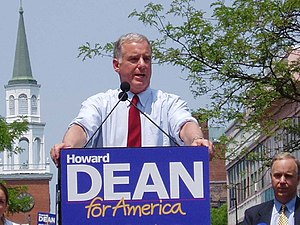 Howard Dean - Howard Dean declared his candidacy for the 2004 Democratic Party presidential nomination on June 23, 2003, in Burlington, Vermont