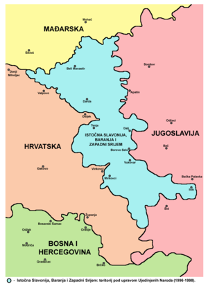 Erdut Agreement - Map of Eastern Slavonia, Baranja and Western Sirmium