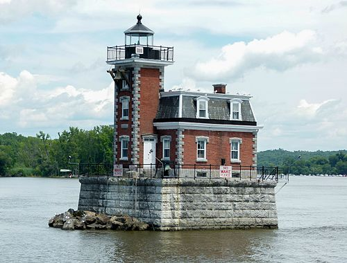 The Hudson–Athens lighthouse on the Hudson River, New York.