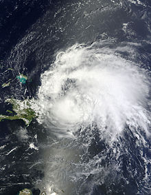 A satellite image of the first hurricane of the 2011 Atlantic hurricane season
