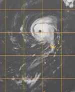 Hurricane Vince on October 9, 2005 at 2300 UTC near the Madeira Islands.