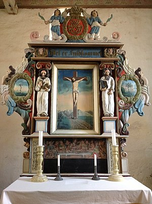 Hustad Church - Image: Hustad kyrkje Inderøy altertavla