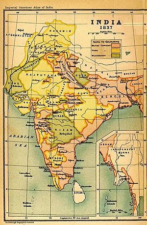 Maund - British India is shown in pink on this 1837 map. The Madras Presidency is in the southeast, the Bombay Presidency is in the west and the Bengal Presidency is in the northeast.
