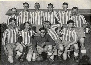 IK Sleipner - IK Sleipner, Swedish champion in football in 1938, standing from left: Hilding Sköld, Arne Linderholm, Tore Keller (captain), Harry Andersson, Gustaf Wetterström and Kurt Hjelm; kneeling Sven Unger, Roland Hjelm, Allan Johansson, Karl Johansson and Bernt Öhrström.