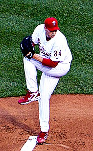 Photograph of Roy Halladay, Phillies' pitcher from 2010 to 2013 on the mound
