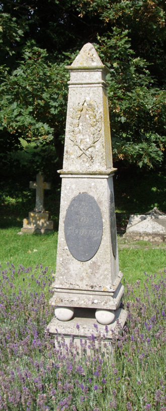 Sevenhampton, Wiltshire - Ian Fleming's grave and monument at Sevenhampton