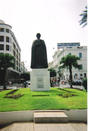 Tunisian statue of Ibn Khaldun, pioneer of his...