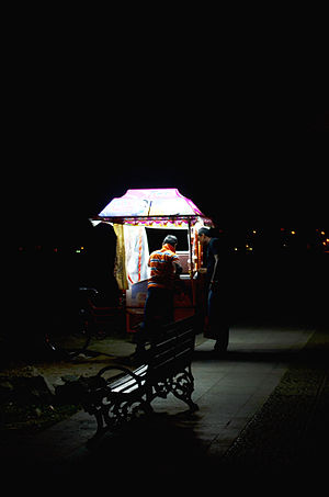 Fort Kochi - Ice Cream Seller at Fort Kochi Beach at Night