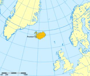 Lage Islands zu Grönland und Skandinavien