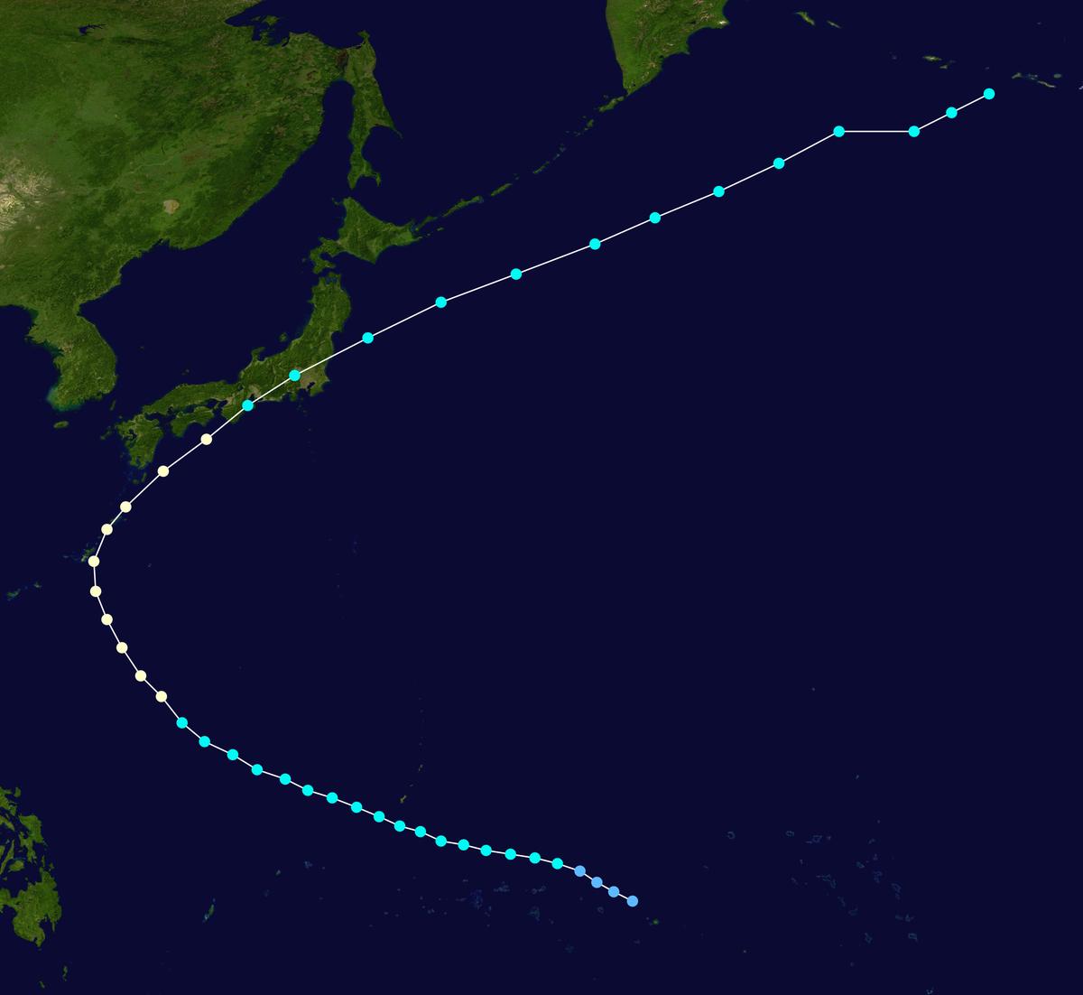 枕崎台風の進路図
