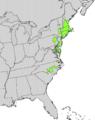 Ilex laevigata range map.png