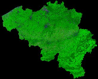 Proba-V -  Photo made by PROBA-V in 300 m per pixel resolution of Belgium, showing land cover and vegetation growth