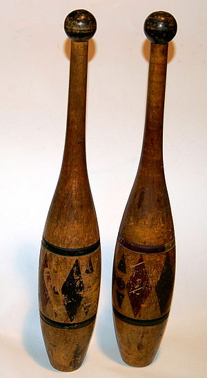 Indian club - A pair of painted Indian clubs from the late 19th century