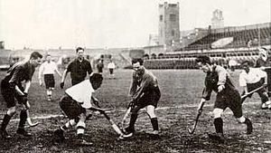 India at the 1928 Summer Olympics - The Indian hockey team in a match, 1928 Amsterdam Summer Olympics.