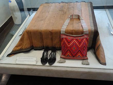 Indira Gandhi's blood-stained sari and belongings at the time of her assassination. She was the Prime Minister of India. IndiraGandhi-SareeAtTimeOfDeath.JPG