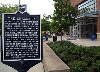 Penn State University Creamery - Image: Information Plaque for the Pennsylvania State University's Berkey Creamery