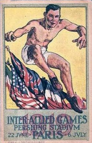 Ralph Parcaut - The poster for the Inter-Allied Games, depicting an athlete jumping over the flags of the Allied Nations.