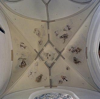 Martinikerk (Doesburg) - Image: Interieur, gewelfschildering van het oostelijk gewelfvlak in de zuidelijke zijbeuk Doesburg 20384113 RCE