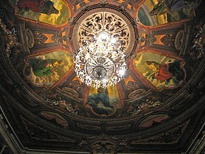 Teatro de Cristóbal Colón - Frescoes of six muses on the ceiling of the main hall