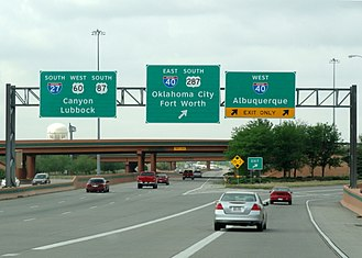 Interstate 27 - Northern terminus at I-40 south of downtown Amarillo