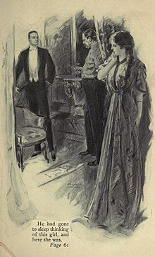 "book illustration showing two men squaring up aggressively and a young woman, concealed, watching them. A caption reads: ""He had gone to sleep thinking of this girl, and here she was."""