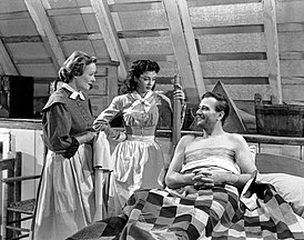 Irene Rich, Gail Russell & John Wayne in Angel and the Badman - 1947.jpg